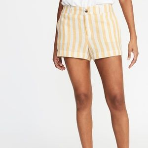 NWT Women's Yellow and White Striped Linen Shorts